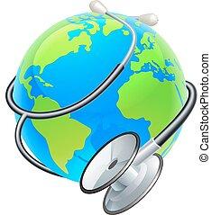 concetto, globo, salute, mondo, stetoscopio, giorno, terra