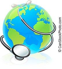 concetto, globo, salute, mondo, stetoscopio, terra