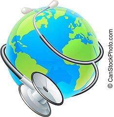 concetto, globo, salute, stetoscopio, terra, mondo