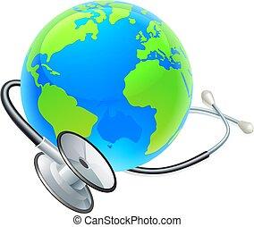 concetto, globo, stetoscopio, mondo, salute, giorno, terra