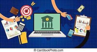 concetto, grafico, bancario, mete, linea, dati