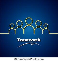 concetto, grafico, &, squadra, lavoro squadra, vettore, direzione, condottiero