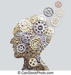 concetto, grigio, cervello, fatto, ingranaggi, fondo, modello, ruote dentate