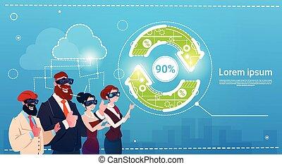 concetto, gruppo, finanza, persone affari, aggiornamento, realtà, indossare, freccia, digitale, successo, occhiali