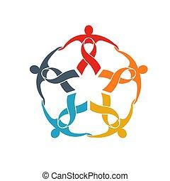 concetto, gruppo, forte, sostegno, nastro, lavoro squadra, comunità, cinque, andare, persone, logo.
