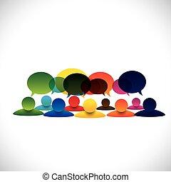 concetto, gruppo, persone parlando, vettore, impiegato, discussioni, o