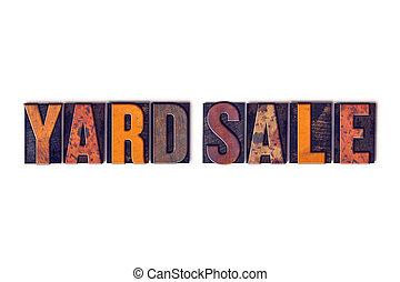 concetto, iarda, letterpress, vendita, isolato, tipo