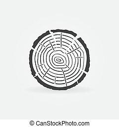 concetto, icona, vettore, anelli albero, fetta