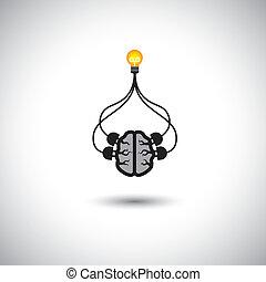 concetto, idea, persona, cervello, cervello, risolvere, uso, &, efficiente, genio, -, anche, mente, far male, intelligente, illustrazione, collegato, bulbo, icona, rappresenta, grafico, questo, creation., ecc, soluzioni, vettore, problema