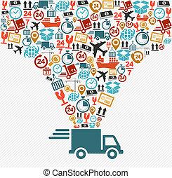 concetto, illustration., icone, consegna veloce, set, camion, spedizione marittima