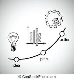concetto, illustration., idea, vettore, azione, piano