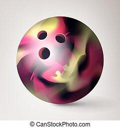 concetto, illustration., ozio, realistico, sfera gioco, vector., bowling, 3d
