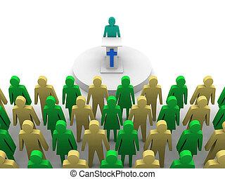 concetto, illustration., pastore, predicatore, church., sermone, 3d