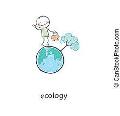 concetto, illustration., restoration., irrigazione, ecologico, albero., uomo