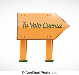 concetto, illustrazione, segno, legno, spagnolo, voto, conta, tuo