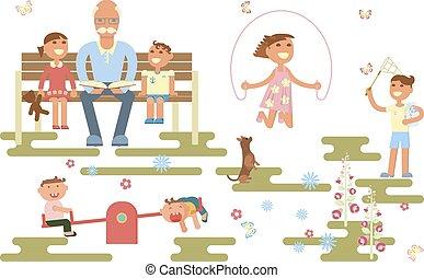 concetto, infanzia, felice