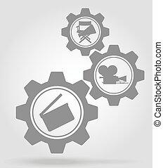 concetto, ingranaggio, cinema, meccanismo, vettore, illustrazione