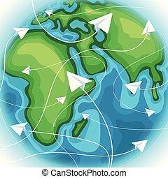concetto, intorno, destinazione corsa, carta, piani, viaggiante, world.
