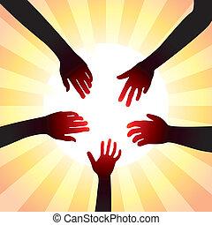 concetto, intorno, sole, vettore, mani, amichevole