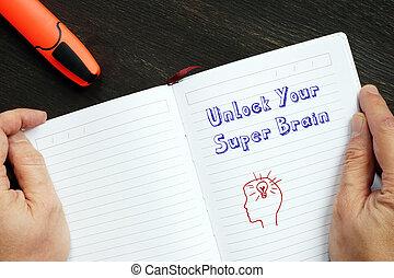 concetto, iscrizione, cervello, super, aprire, motivazionale, tuo, significato, page.