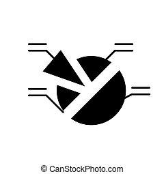 concetto, isolato, analisi, segno, fondo., vettore, nero, illustrazione, icona, simbolo, mercato