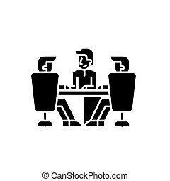 concetto, isolato, illustrazione, segno, fondo., direttori, vettore, nero, asse, icona, simbolo, riunione