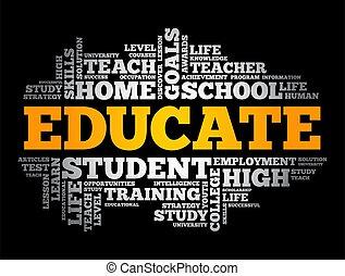 concetto, istruire, nuvola, educazione, parola