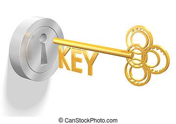 concetto, key/, soluzione, 3d