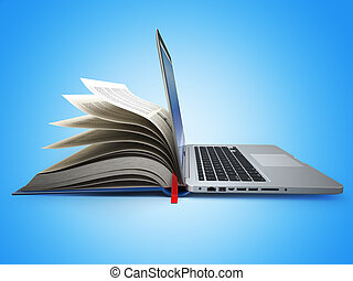 concetto, labrary., laptop., education., libro, e-learning., internet