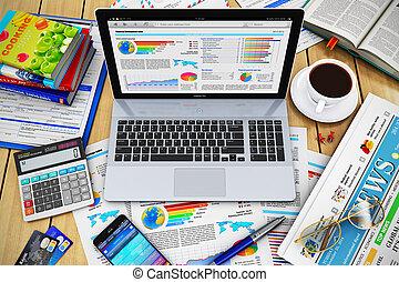 concetto, lavoro, affari moderni