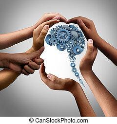 concetto, lavoro squadra, idea, affari