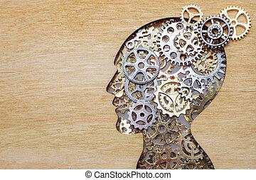 concetto, legno, cervello, fatto, ingranaggi, fondo, modello, ruote dentate