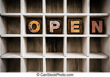 concetto, letterpress, legno, tipo, cassetto, aperto