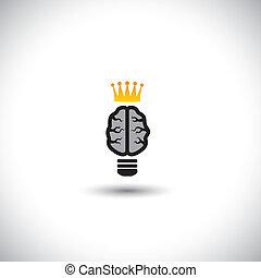 concetto, luce, -, idee, cervello, vettore, bulbo, icona, crown.