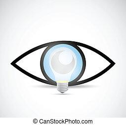 concetto, luce, illustrazione, idea., visuale, bulbo