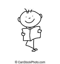 concetto, madre, cartone animato, mano, disegno, giorno, felice