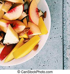 concetto, mangiare, pesca, maturo, sano, frutte, -, succoso, disegnato, fresco