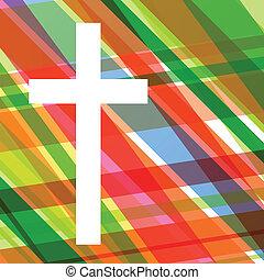 concetto, manifesto, astratto, croce, illustrazione, cristianesimo, religione, vettore, fondo, mosaico