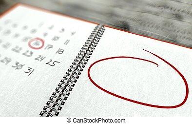 concetto, marcato, giorno, importante, calendario, cerchio, rosso