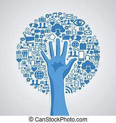 concetto, media, albero, mano, sociale, reti