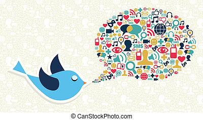 concetto, media, cinguettio, sociale, marketing, uccello