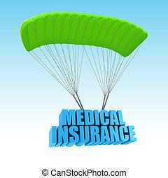 concetto medico, assicurazione, illustrazione, 3d