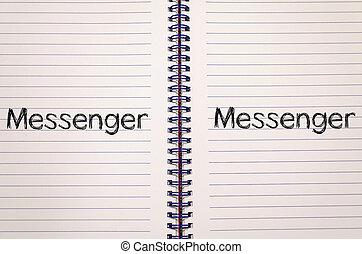 concetto, messaggero, quaderno