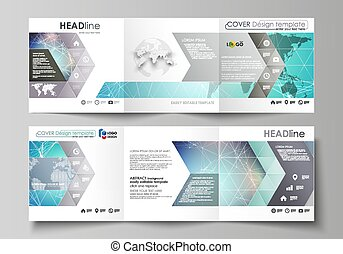 concetto, moderno, coperchi, disegno quadrato, tecnologia, flyer., due, creativo, connettere, mascherine, molecola, editable, illustrazione, layout., minimalistic, opuscolo, struttura, dots., linee, vettore, o