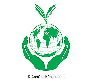 concetto, mondo, vettore, verde