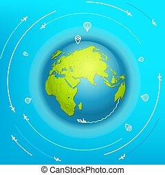 concetto, mondo viaggiante, intorno, vettore