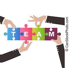 concetto, montaggio, aiuto, persone affari, puzzle, lavoro squadra