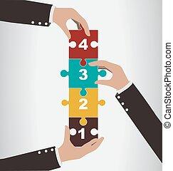 concetto, montaggio, aiuto, verticale, persone, puzzle, affari, lavoro squadra