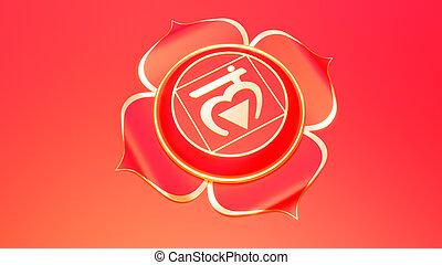 concetto, muladhara, ayurveda., simbolo, buddismo, illustrazione, trust., induismo, fondamentale, chakra, radice, rosso, 3d