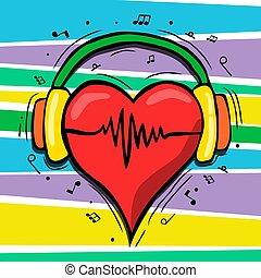 concetto, musica, cuore, cartone animato, cuffie